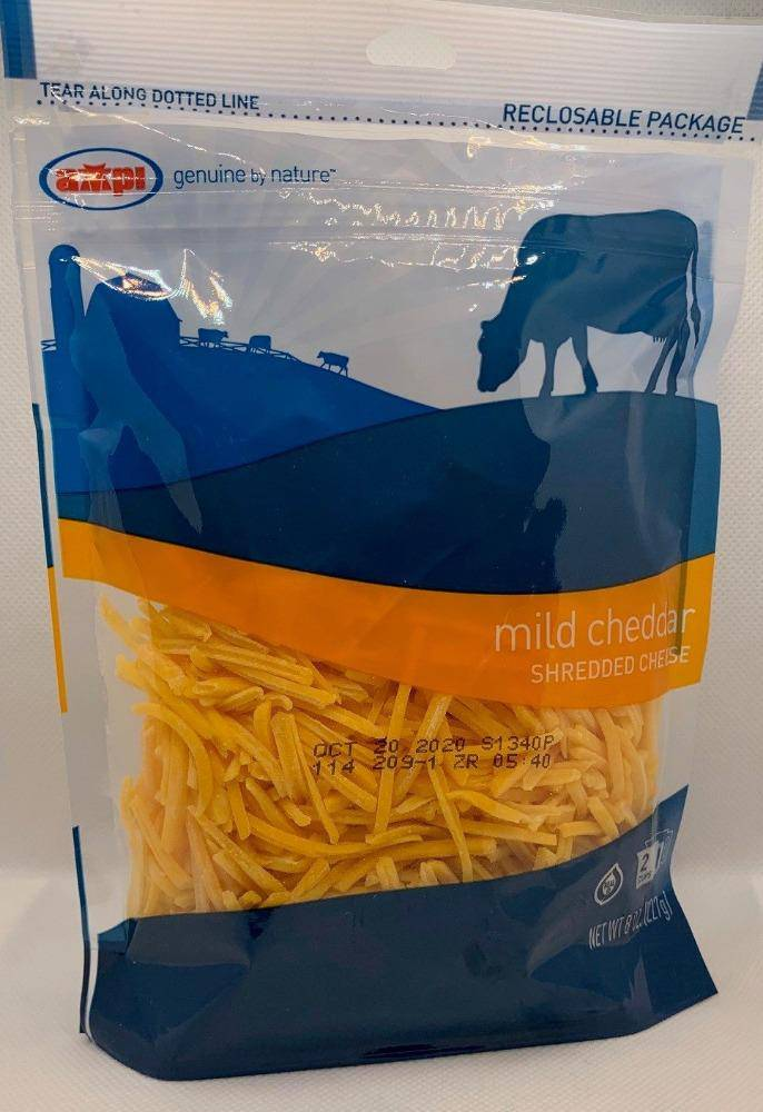 Cheese-Mild Yellow Cheddar SHREDDED-8oz Per Pack - Pepper Pantry