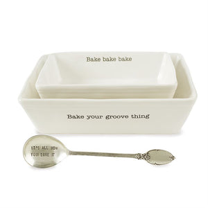 Bake your groove thing Nested Baking Dish Set