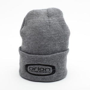 Orion Grey Knit Hat with Black Embroidered Logo