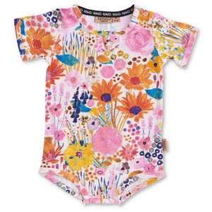 KIP & CO - Pinky Field Of Dreams -Organic SS Romper 3-6 months