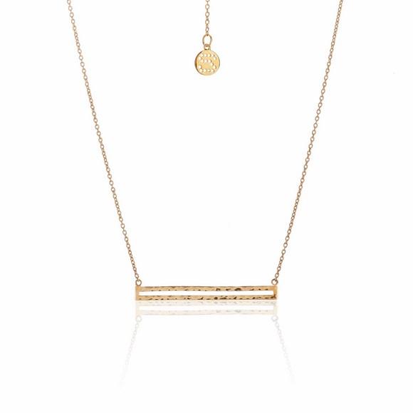 Silk and Steel - Long Way Necklace - 14k Gold Plated