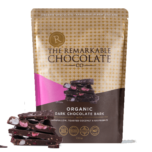 The Remarkable Chocolate Co - Organic Chocolate Bark - Marshmallow, Coconut & Raspberry