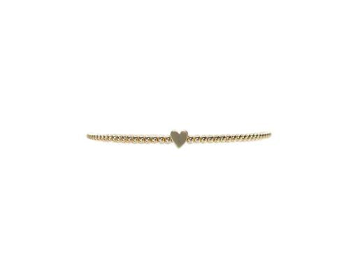 2MM GOLD HEART BEAD BRACELET