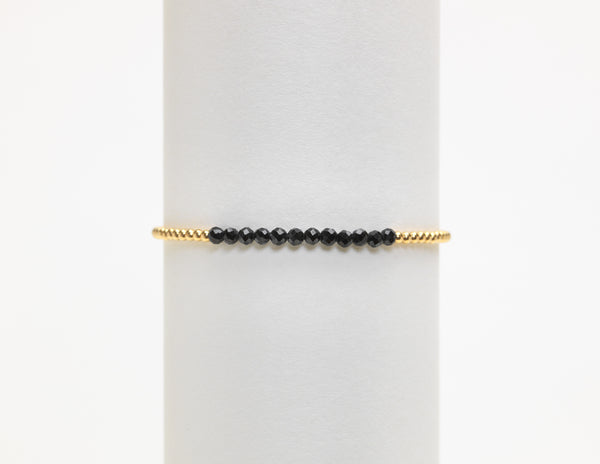 2MM BLACK SPINEL BAR BEAD BRACELET