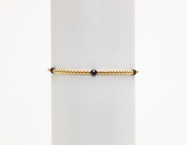 2MM BLACK SPINEL BEAD BRACELET