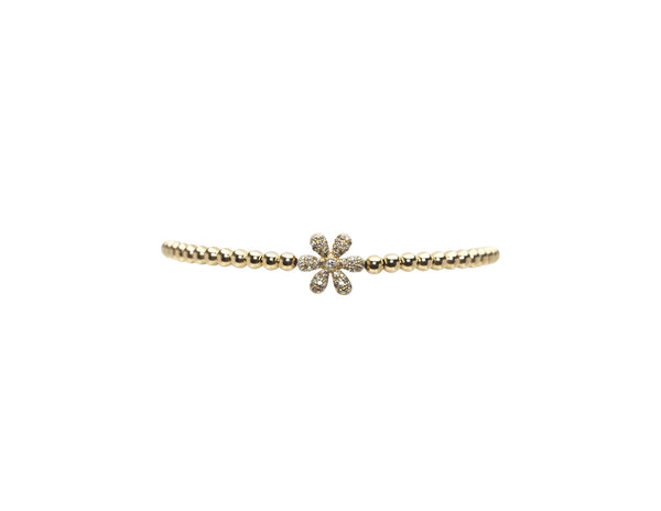3MM DIAMOND FLOWER BEAD BRACELET