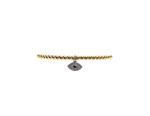 3MM DIAMOND EVIL EYE CHARM BRACELET