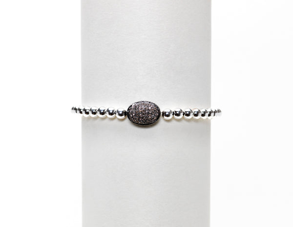 4MM OXIDIZED DIAMOND BEAN BRACELET