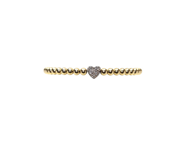 4MM OXIDIZED DIAMOND HEART BRACELET