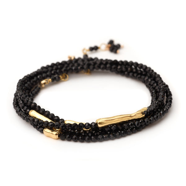 BLACK SPINEL WRAP WITH GOLD BEADS