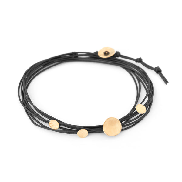 BLACK CORD AND GOLD WRAP BRACELET