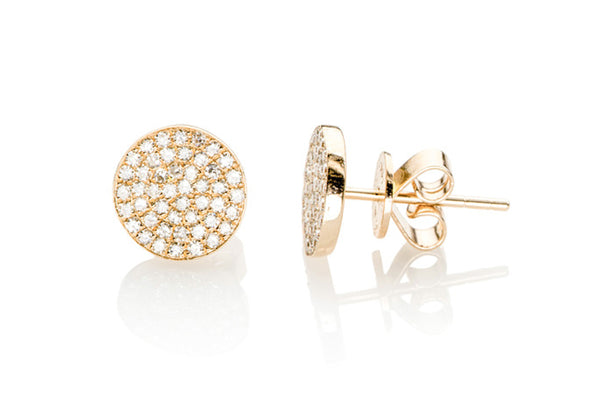 LARGE DIAMOND DISC STUD EARRINGS