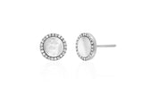 MOTHER OF PEARL & DIAMOND DISC STUDS