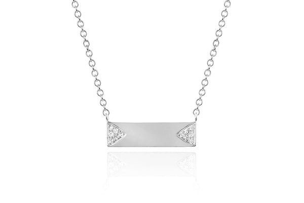 DIAMOND DOUBLE TRIANGLE MINI NAMEPLATE NECKLACE