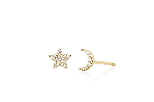 MINI DIAMOND STAR AND MOON STUD EARRINGS