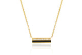 MINI DIAMOND & BLACK ENAMEL BAR NECKLACE