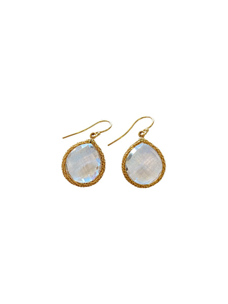 WHITE TOPAZ AND GOLD DROP EARRINGS