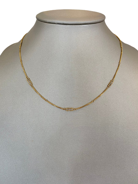 CHAMPAGNE DIAMOND BEAD STATION NECKLACE