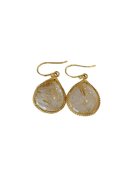 QUARTZ AND GOLD DROP EARRINGS