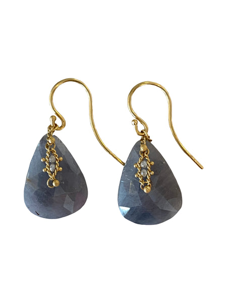 ROUGH SAPPHIRE AND DIAMOND DROP EARRINGS