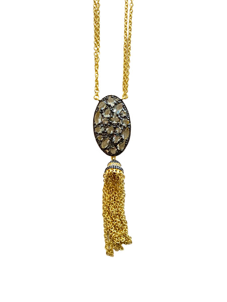 OVAL CZ PENDANT WITH TASSEL