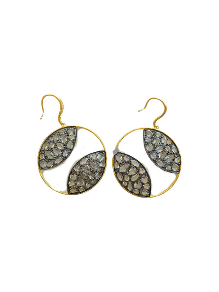LARGE ROUND DISC DROP EARRINGS