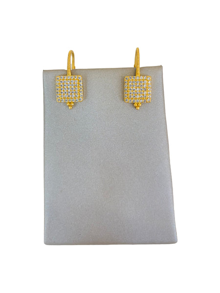 SQAURE SHAPE PAVE EARRINGS