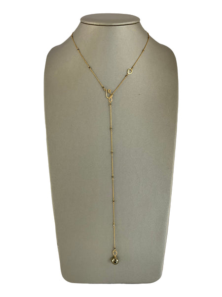 EXTRA LONG PYRITE LARIAT NECKLACE