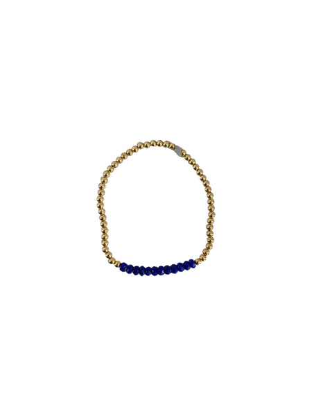 3MM LAPIS BAR BEAD BRACELET