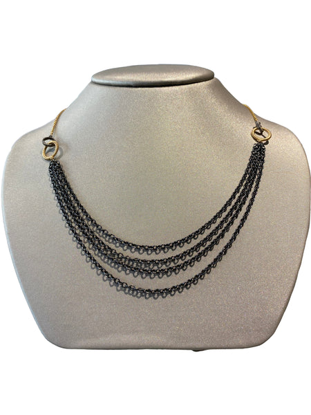 MULTI CHAIN TWO TONE NECKLACE