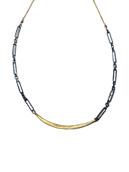 CRESCENT BAR NECKLACE ON TWO TONE CHAIN