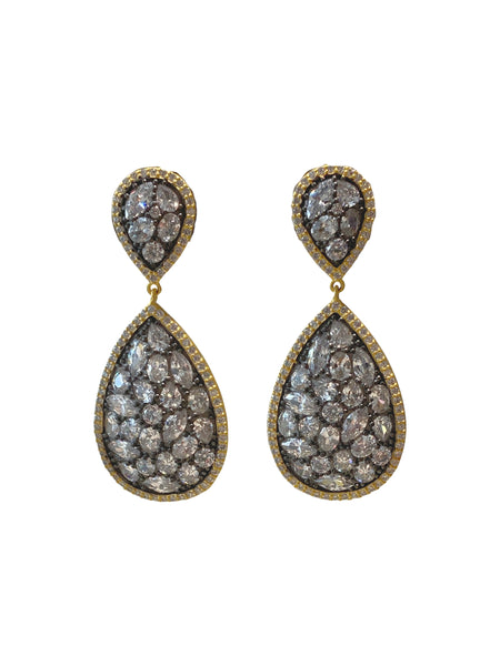 DOUBLE PEAR SHAPE STATION EARRING