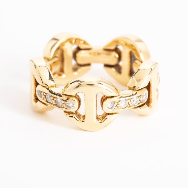 CLASSIC TRI-LINK RING WITH DIAMONDS