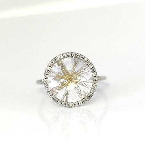 WHITE TOPAZ AND DIAMOND RING