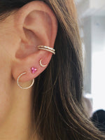 MINI DIAMOND MOON STUD EARRING