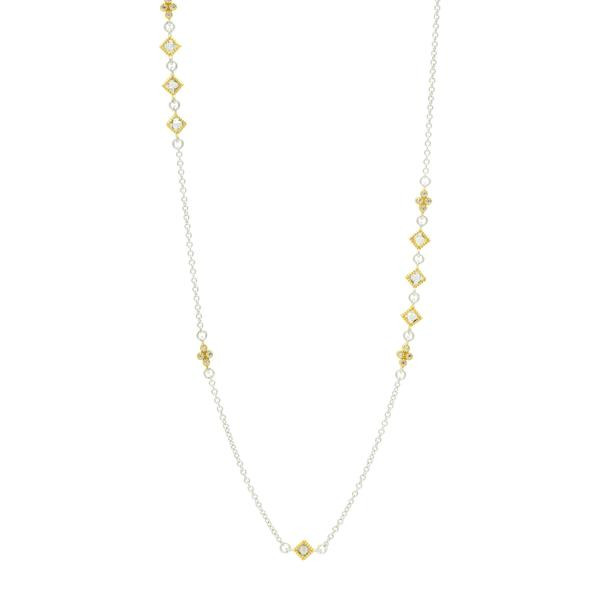 FLEUR BLOOM ASYMMETRICAL STATION NECKLACE