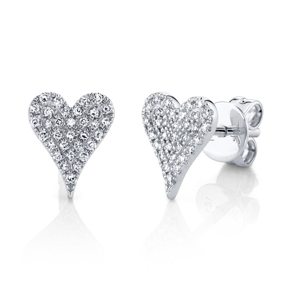HEART SHAPE PAVE DIAMOND STUD EARRINGS