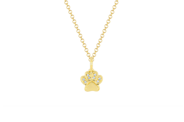 DIAMOND PAW PENDANT NECKLACE