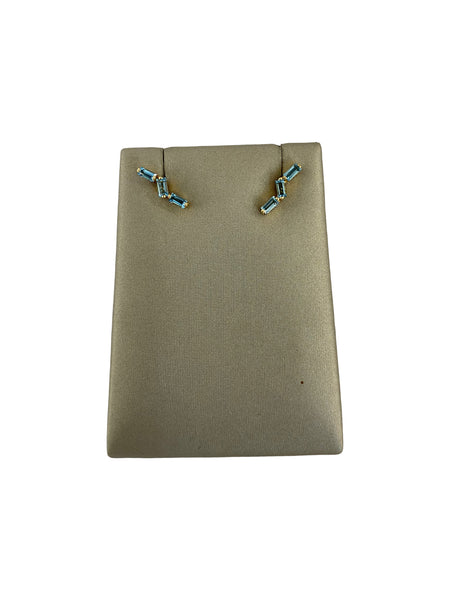 BLUE TOPAZ ZIGZAG EARRINGS