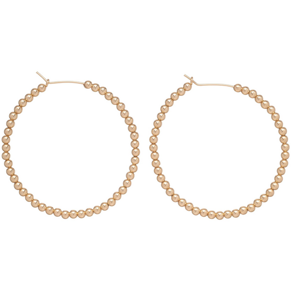 3MM BEAD HOOP EARRINGS