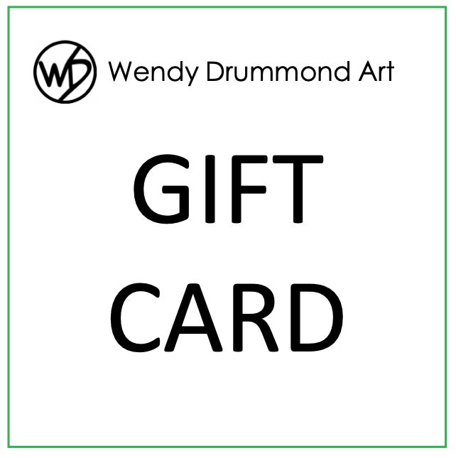white background with Wendy Drummond Art Gift Card in black text