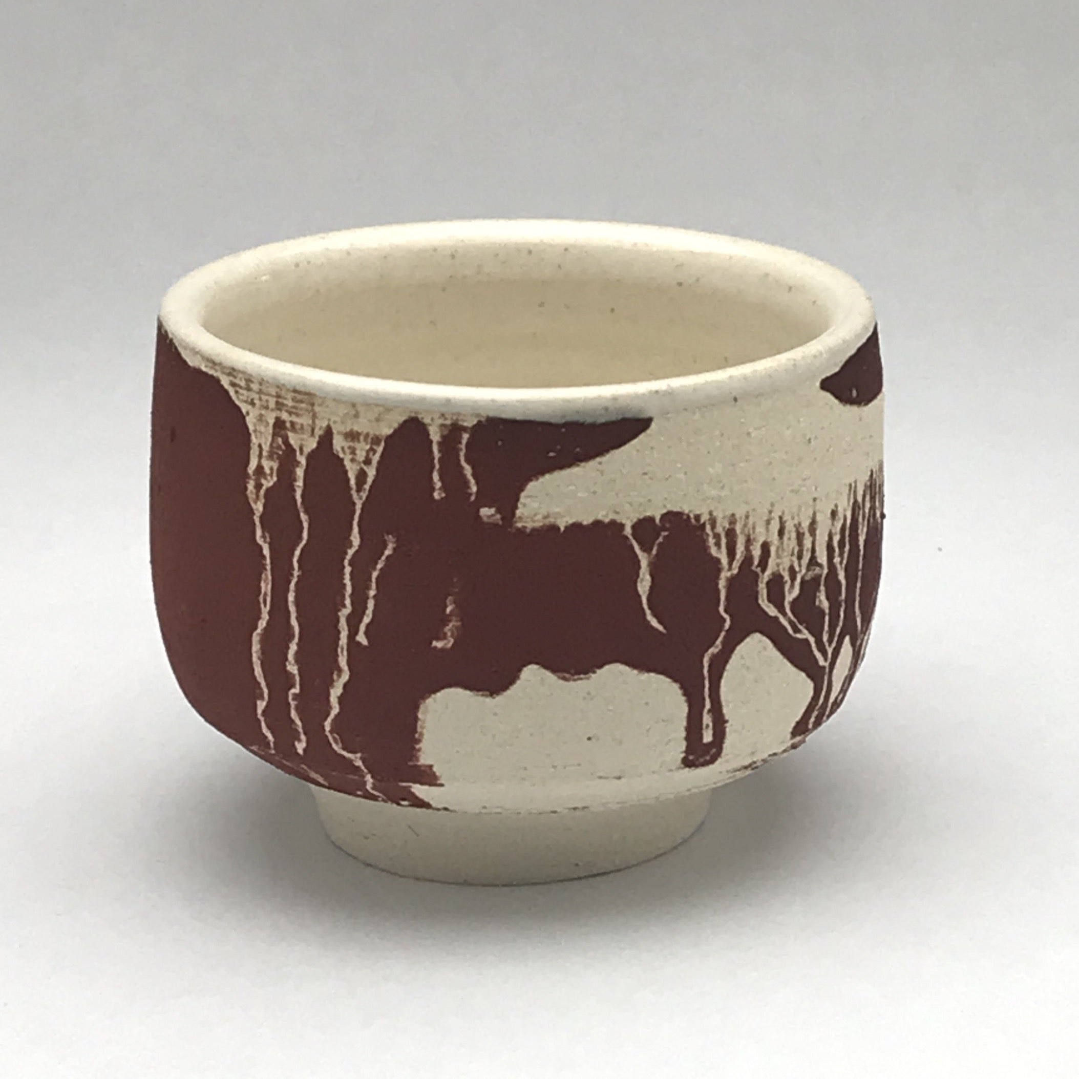 yunomi tea cup whiskey sipper with brown and white drippy design