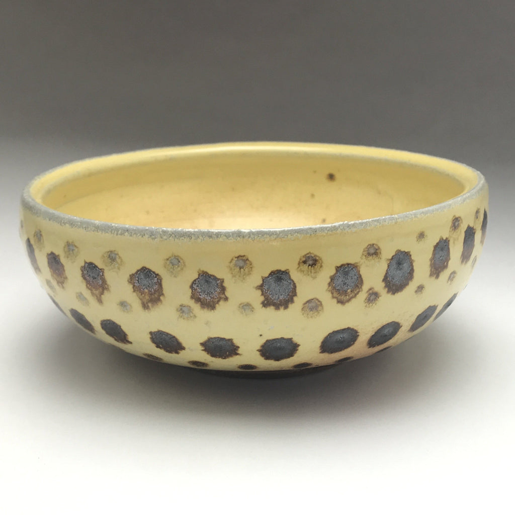 ceramic pottery woodfired bowl yellow with iron brown spot pattern