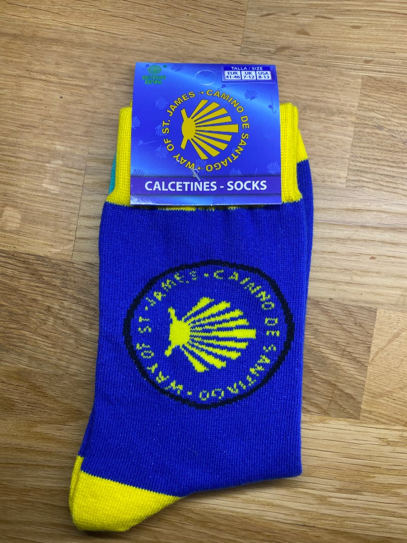 Camino Sock (yellow shell on blue and yellow)