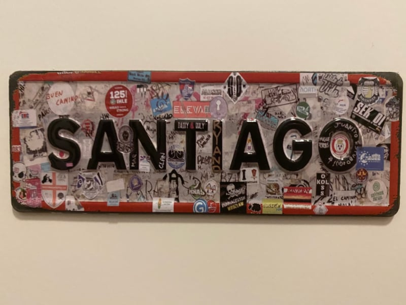 """Santiago"" sign on the Camino Frances (Fridge magnet)"
