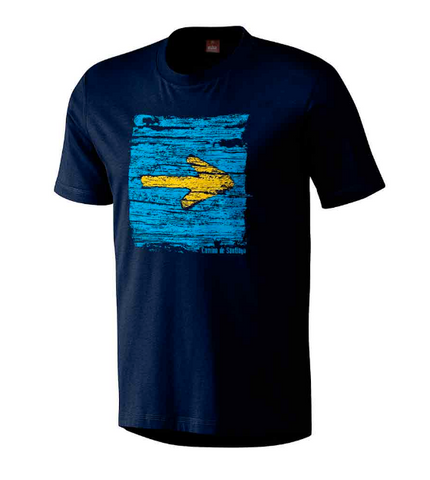 Camino t-shirt, Arrow on wood design