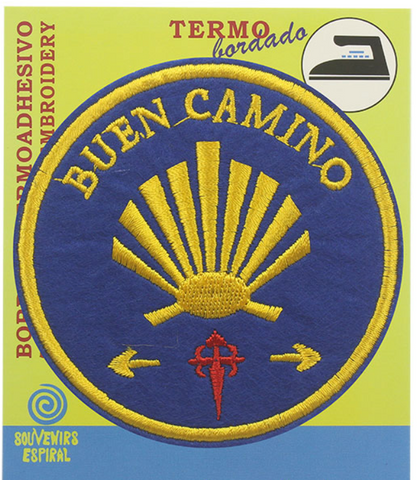 Buen Camino round shell badge