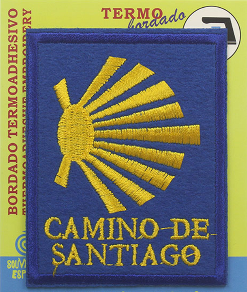 Camino de Santiago square shell badge