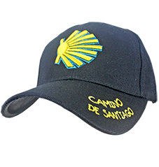 Black Camino de Santiago Cap with Shell