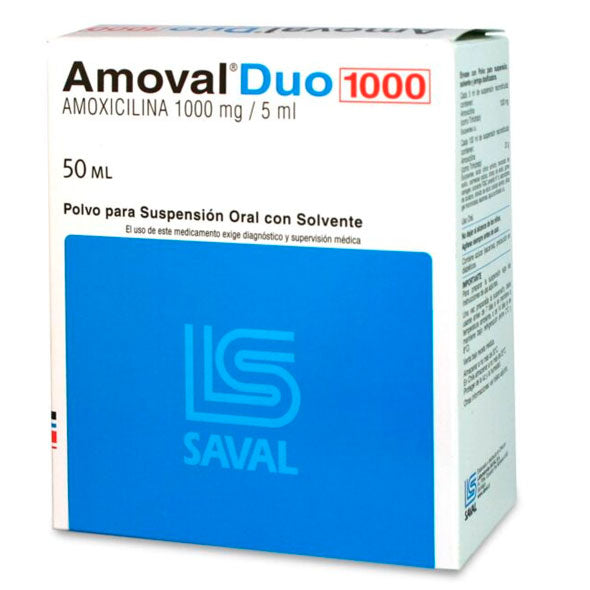 AMOVAL DUO 1000MG SUSPENSION X 50ML AMOXICILINA TRIHIDRA
